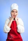 Cocinero dado una sacudida eléctrica triste Foto de archivo libre de regalías