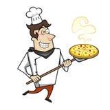 Cocinero de la historieta con la pizza Fotos de archivo libres de regalías