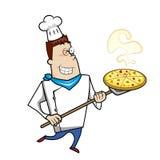 Cocinero de la historieta con la pizza Imagen de archivo libre de regalías