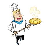 Cocinero de la historieta con la pizza Fotos de archivo