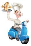 Cocinero de la historieta en el ciclomotor de la vespa que entrega el perrito caliente Fotografía de archivo