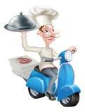 Cocinero de la historieta en el ciclomotor de la vespa que entrega la comida Foto de archivo