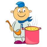 Cocinero de la historieta en la ilustración del kitchet. Fotos de archivo libres de regalías