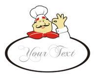 Cocinero de la insignia de la historieta stock de ilustración