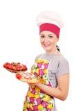 Cocinero de la muchacha con espaguetis Fotografía de archivo