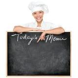 Cocinero de la muestra del menú Imagen de archivo