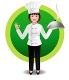Cocinero de la mujer joven con el cocido al vapor de la cocina al vapor Fotografía de archivo