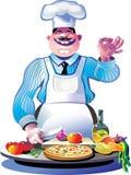 Cocinero de la pizza Foto de archivo libre de regalías