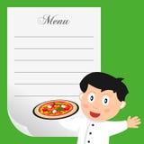 Cocinero de la pizza con el menú en blanco Foto de archivo