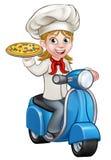 Cocinero de la pizza de la mujer de la historieta en la entrega de la pizza stock de ilustración