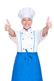 Cocinero de sexo femenino alegre Imágenes de archivo libres de regalías