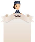 Cocinero de sexo femenino asiático Looking en el menú en blanco en el top Imágenes de archivo libres de regalías