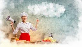 Cocinero de sexo femenino asiático que sostiene el megáfono imagen de archivo