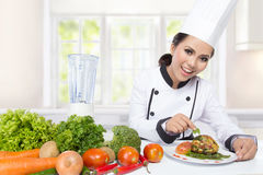 Cocinero de sexo femenino Cooking en la cocina Fotos de archivo libres de regalías
