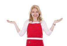 Cocinero de sexo femenino en delantal imágenes de archivo libres de regalías
