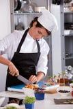 Cocinero de sexo femenino que corta una cebolla Fotografía de archivo libre de regalías