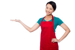 Cocinero de sexo femenino que promueve el producto de la panadería imagen de archivo libre de regalías