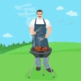 Cocinero de sexo masculino del hombre que prepara la comida en la parrilla Barbacoa en el ejemplo del vector del jard de la natur Fotografía de archivo libre de regalías