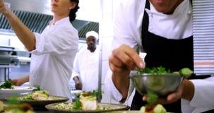 Cocinero de sexo masculino que adorna las placas del aperitivo en la estación 4k de la orden almacen de metraje de vídeo
