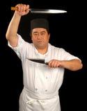 Cocinero de sushi japonés con su k Foto de archivo