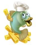 Cocinero del chartoon de los pescado frito con patatas fritas Imágenes de archivo libres de regalías