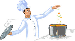 Cocinero del cocinero en la cocina Imágenes de archivo libres de regalías