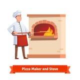 Cocinero del cocinero que pone la pizza a un horno de la piedra del ladrillo Foto de archivo