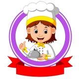 Cocinero del cocinero que sostiene el plato de la placa ilustración del vector