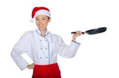 Cocinero del este con el sartén Foto de archivo libre de regalías