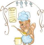 Cocinero del gato con la cacerola. Fotografía de archivo