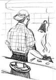 Cocinero del inconformista del hombre que cocina en la cocina del restaurante Hombre moderno del inconformista joven de la forma  libre illustration