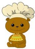 Cocinero del oso del peluche con la torta Fotos de archivo libres de regalías