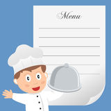 Cocinero del restaurante con el menú en blanco Imagen de archivo libre de regalías