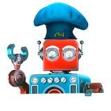 Cocinero del robot con el tablero vacío en blanco ilustración 3D Aislado Co Imagen de archivo libre de regalías