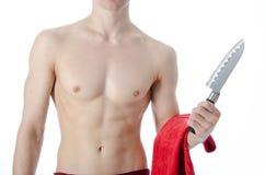 Cocinero desnudo atractivo Fotos de archivo libres de regalías
