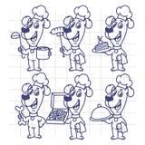 Cocinero determinado Holding Various Objects del perro de los caracteres del bosquejo Foto de archivo libre de regalías