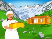 Cocinero divertido y queso suizo natural de la lechería stock de ilustración