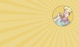 Cocinero Eating Burger Etching del cocinero de la tarjeta de visita libre illustration