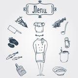 Cocinero elegante a mano del vector con los platos y Imágenes de archivo libres de regalías