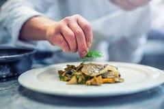Cocinero en cocina del hotel o del restaurante que cocina, solamente manos Filete de pescados preparado con la decoración del ene fotografía de archivo