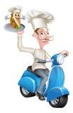 Cocinero en el ciclomotor de la vespa que entrega a Souvlaki Pita Kebab Imagenes de archivo