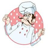Cocinero en fondo de la fresa Foto de archivo libre de regalías