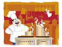 Cocinero en la cocina Foto de archivo libre de regalías