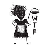 Cocinero enojado Asking Hands de la mujer en caderas libre illustration