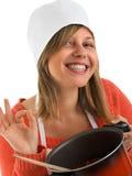 Cocinero feliz con el resultado Fotos de archivo libres de regalías