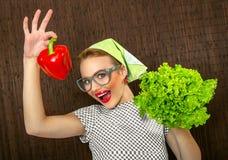 Cocinero feliz de la mujer Imágenes de archivo libres de regalías