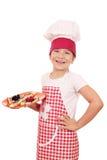 Cocinero feliz de la niña con crespones Imagen de archivo libre de regalías