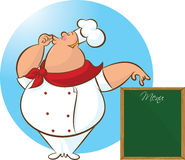 Cocinero feliz Menu stock de ilustración