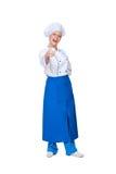Cocinero feliz que muestra los pulgares para arriba Imagen de archivo libre de regalías