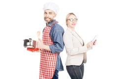 Cocinero feliz With Successful Wife Imágenes de archivo libres de regalías